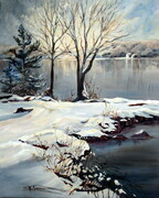 Winter Lake St Jean 24X30 acrylic